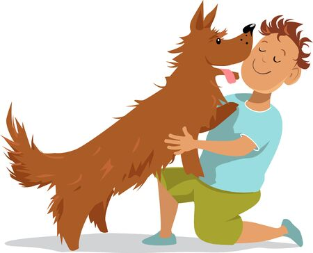 Little boy with his dog best friend, vector illustration