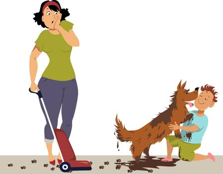 Horrified mother looking at a boy, hugging a very dirty dog, making mess everywhere, vector illustration