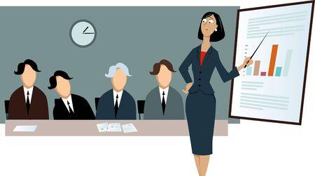 Upset businesswoman making presentation in front of dummies, vector illustration