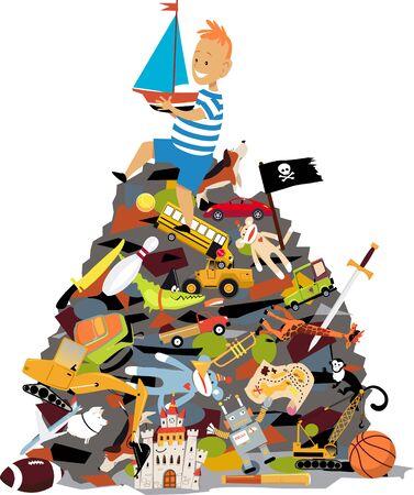 Spoiled little boy sitting on a huge pile of toys, vector illustration