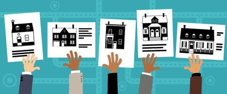 Hands holding up real estate listings with different types of properties, vector illustration