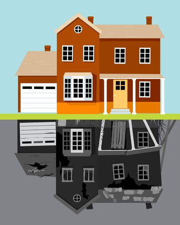 Nice renovated building with an upside down reflection of the same building in a dilapidated before renovation state, vector illustration Illustration