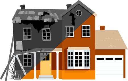 Dilapidated house before and after remodeling, vector illustration Ilustrace