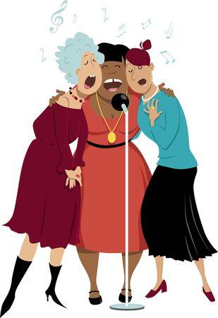 Three mature women singing in a microphone, vector illustration Illusztráció