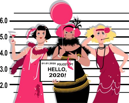 Three young women in flappers outfits stand for a mug shot at the police station, holding Hello 2020 tablet, EPS 8 vector illustration