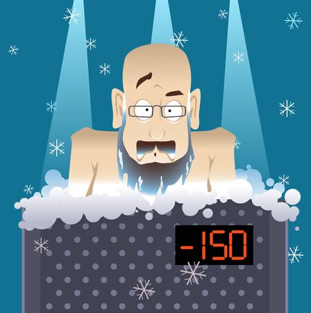 Mature man undergoing a whole body cryotherapy treatment in a cryosauna