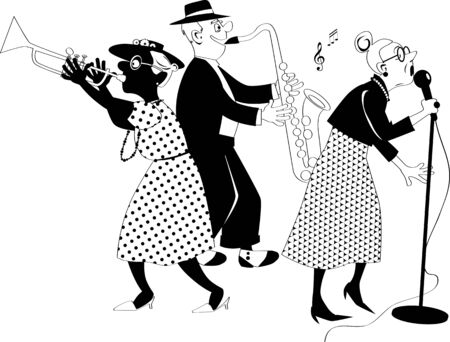 Senior citizens jazz band performing on stage, black solid vector silhouette, no white objects, figures cannot be separated Vektoros illusztráció