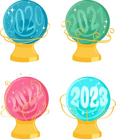 Chrystal balls or snow globes with a vision of 2020 to 2023 vector illustration, no transparencies