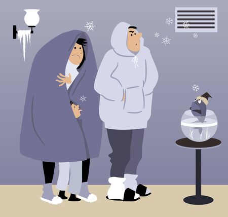 Warmly dressed family standing in a cold house under an malfunctioning heating vent, snowflakes coming out it, vector illustration