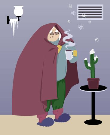 Warmly dressed senior woman standing in a cold house under an malfunctioning heating vent, snowflakes coming out it, vector illustration Ilustração