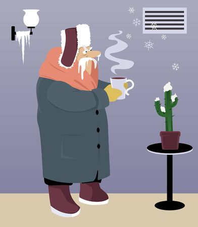 Warmly dressed senior man standing in a cold house under an malfunctioning heating vent, snowflakes coming out it, vector illustration Ilustração