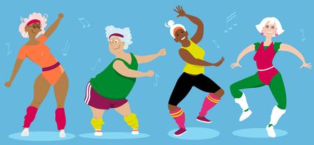 Women-only senior aerobic group workout, vector illustration