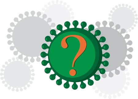 Graphic representation of a coronavirus with a question mark on it, vector illustration Vector Illustration