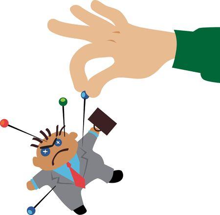Hand, die Stifte in einen Voodoo-Puppengeschäftsmann steckt, Vektorillustration