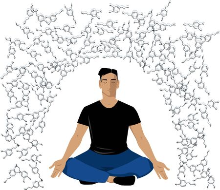 Man sitting in a meditation pose practicing a dopamine fast, EPS 8 vector illustration Иллюстрация