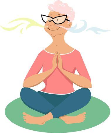 Elderly woman practicing breathing exercises, EPS 8 vector illustration Vector Illustration