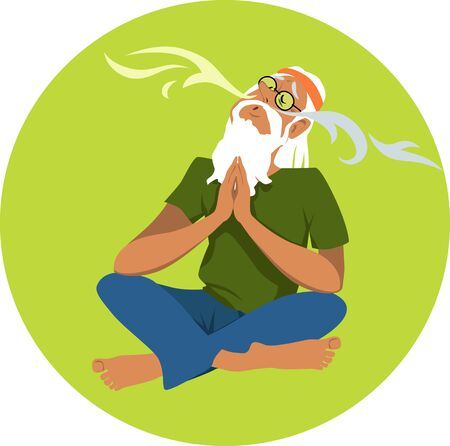 Senior man practicing breathing exercises, EPS 8 vector illustration