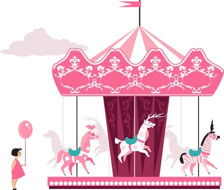 Pink merry go round and a little girl with a balloon, EPS 8 vector illustration Иллюстрация