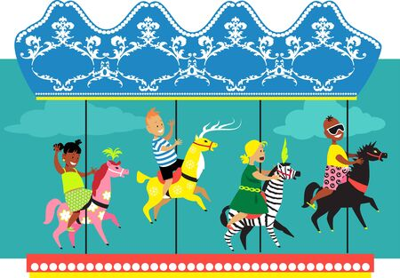 Little kids riding a merry-go-round EPS 8 vector illustration