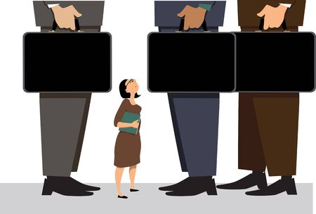 Business woman looks small and insignificant among her male colleagues, EPS 8 vector illustration