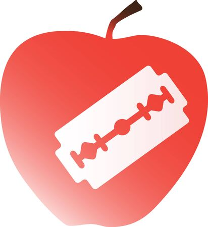 Apple with a razor blade inside as a metaphor for a hidden danger or dangerous food 向量圖像