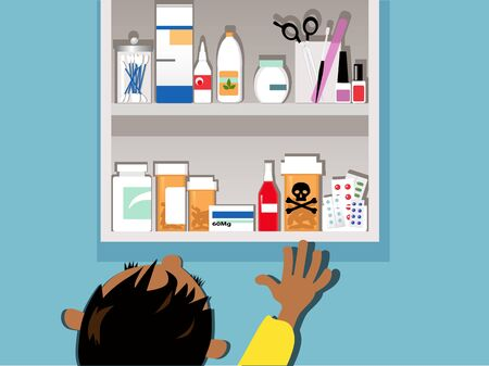 Child reaching for a dangerous drug in a medicine cabinet at home