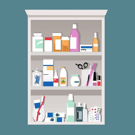 Medicine cabinet filled with pill bottle, hygiene tools and cosmetics