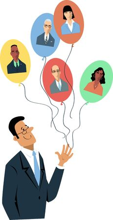 Businessman letting go balloons with employees' faces on them as a metaphor for remote work or macro managing, vector illustration