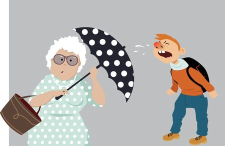 Elderly woman hiding behind an umbrella from a sniffing child, protecting herself from virus, vector illustration