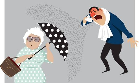 Elderly woman hiding behind an umbrella from a coughing person, protecting herself from virus, vector illustration