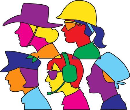 Five female professional profiles color-block graphic design, vector illustration