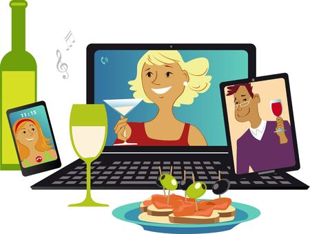 Online party with friends communicating via video chat from different gadgets, vector illustration