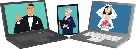 Wedding performed online with bride, groom and officiant communicating via different devices, EPS 8 vector illustration