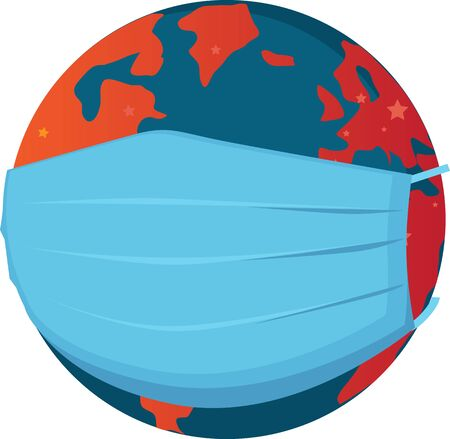 Earth in a surgical mask as a metaphor for a global pandemic, EPS 8 vector illustration