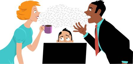 Two coworkers talking over the head of a man, terrified of germs they are spreading, EPS 8 vector illustration