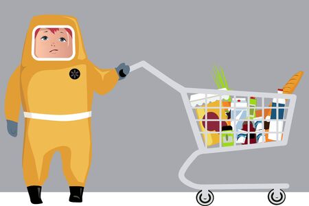 Person in a hazmat protection suit doing grocery shopping, EPS 8 vector illustration Stock Illustratie