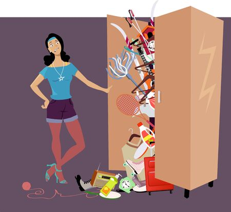 Woman looking at her possessions falling out of a overfilled closet