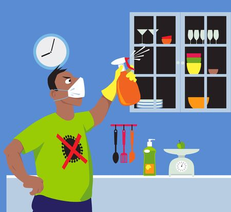 Person wearing an anti viral printed tee shirt and face mask spraying interior of a house with disinfectant, killing germs, vector illustration