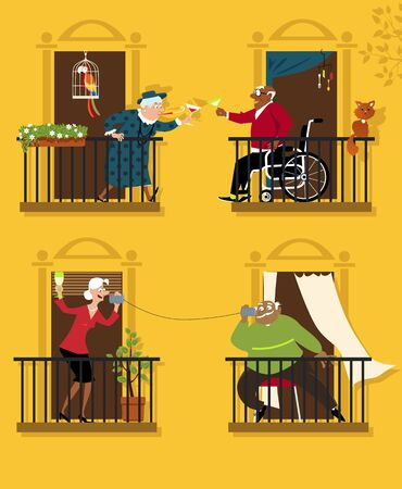 Senior citizens practicing social distancing keep connected with their neighbors, vector illustration 벡터 (일러스트)