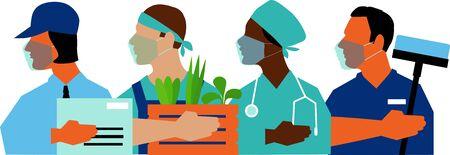 Members of essential workforce wearing medical face masks, vector illustration Vettoriali