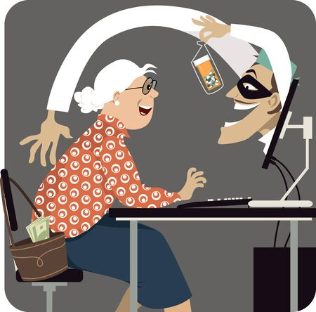 Criminal, pretending to be a health care professional, attempting to scam a senior woman offering her medication on-line,  vector illustration