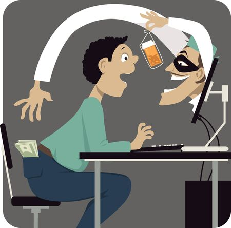 Criminal, pretending to be a health care professional, attempting to scam a person offering him medication on-line, vector illustration Vecteurs