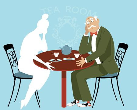 Sad elderly man sitting at the table missing his  departed wife, vector illustration Ilustrace