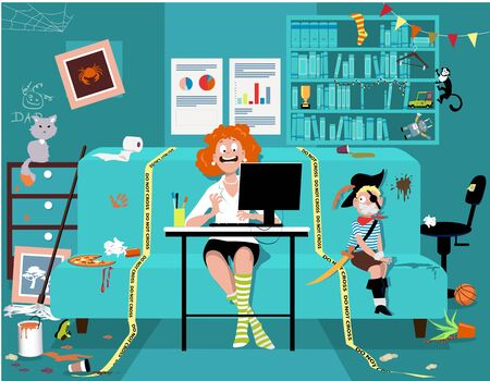 Woman attending a work video conference in a messy room with a kid tied up on a couch, yellow tape sets work place boundaries, vector illustration