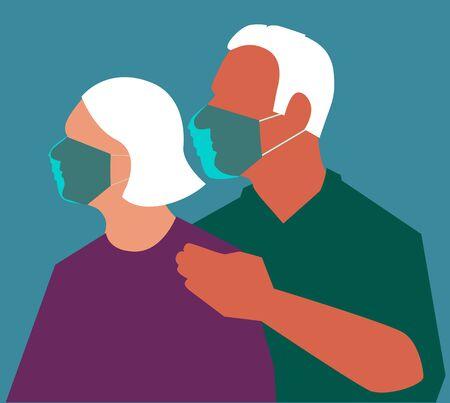 Senior couple wearing protective face masks during a pandemic, vector illustration, no transparencies