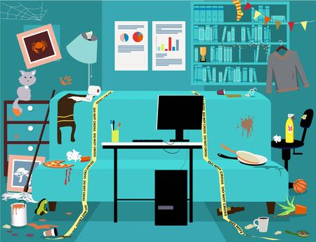 Messy dirty room with a clean work station, yellow tape sets work place boundaries, no people, vector illustration