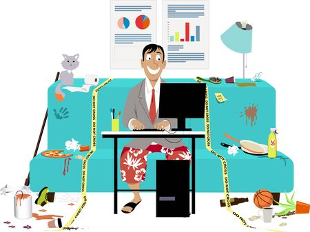 Man attending a work video conference in business jacket and swim shorts, in a messy room on a couch, yellow tape sets work place boundaries, vector illustration Ilustração Vetorial