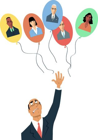 Upset businessman letting go balloons with employees' faces on them as a metaphor for remote work or losing talents, vector illustration Vector Illustratie
