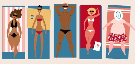 Different body types people lying on the beach, getting tan,  vector illustration 向量圖像