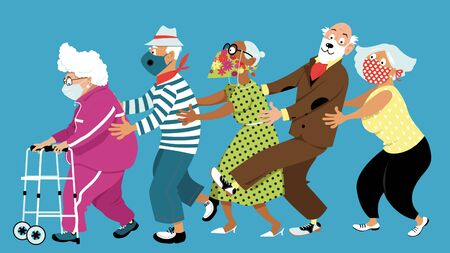 Group of active seniors dancing conga line and wearing protective non-medical facial masks to prevent spread of Covid-19, EPS 8 vector illustration